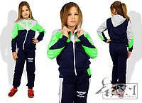 Детский трехцветный спортивный костюм для девочек, фото 1