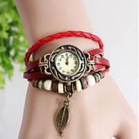 Часы женские браслет с листочком с бордовым ремешком