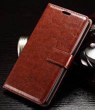 Кожаный чехол книжка для Lg K10 коричневый