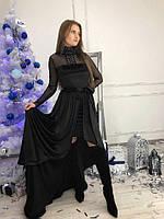Мега красивое бархатное платье с длинной юбкой (черное и красное)