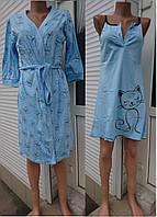 Комплект халат и ночная сорочка с принтом бабочки 44-54, женские пижамы оптом от производителя