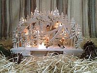 """Новогоднее, рождественское украшение с подсветкой """"Снеговики на лыжах в лесу"""", фото 1"""