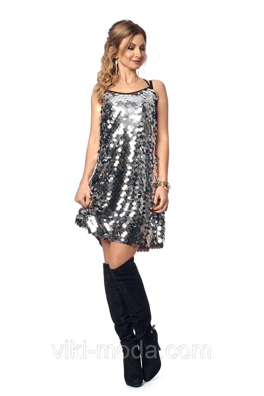 Новогоднее платье с крупными пайетками