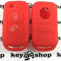 Чехол (красный, силиконовый) для выкидного ключа Mercedes (Мерседес) 2 кнопки