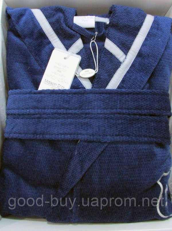 096d9b6c82e5 Мужской махровый халат Maison D`or Paris Leonor с капюшоном синий ...