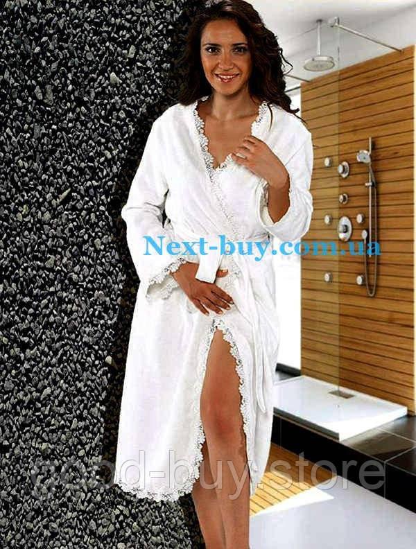 c0885dba5b910 Женский халат премиум класса с кружевом Maison D`or Paris коллекции Дина  Лонг. Для пошива халата использованны только натуральные ткани из бамбука и  хлопка.