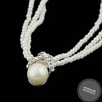 Ожерелье белое с жемчуженкой