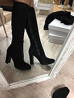 Зимние замшевые сапоги на каблуке цвет: черныйматериал: натуральная замша, внутри утеплитель: полушерсть (е