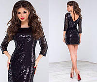Платье пайетка+подклада трикотаж норма МОД№1100 (НИН55)