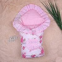"Зимний конверт-одеяло для девочки на выписку ""Зефирка"", фото 1"