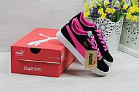 Puma Suede женские кроссовки черные c розовым (Реплика ААА+), фото 1