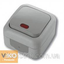 Выключатель влагозащищенный 1-клав. с подсветкой VIKO Palmiye серый