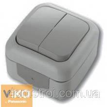 Выключатель влагозащищенный 2-клав. VIKO Palmiye серый
