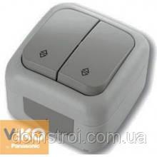 Выключатель проходной влагозащищенный 2-клав. VIKO Palmiye серый