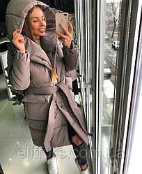 Пальто зимнее с капюшоном-воротом + (3 цвета)