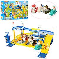 Игровой гараж трек Щенячий Патруль, машинка 4шт, дорожные знаки, ZY-688
