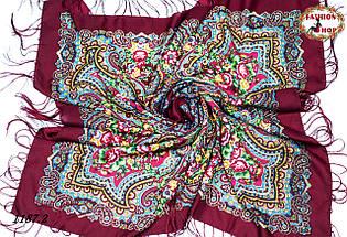 Бордовый павлопосадский шерстяной платок Елизавета, фото 3