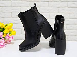 Ботинки стильные кожные на устойчивом каблуке. Хит сезона осень-зима.
