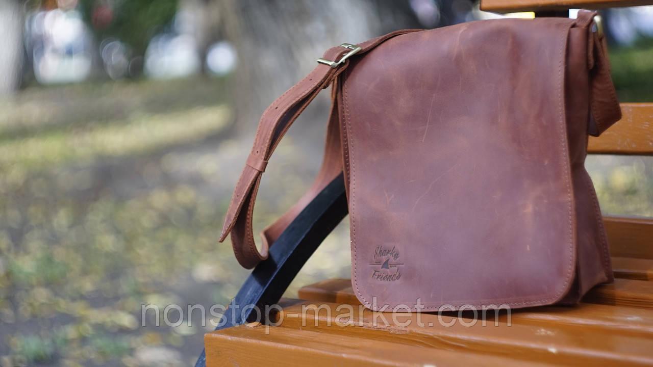 f7b489ba448d Мужская кожаная сумка ручной работы Практик Whiskey, Sharky Friends -  Nonstop-Market в Днепре