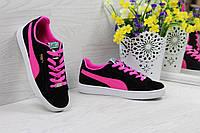 Кроссовки Puma Suede женские  (черные с розовым), ТОП-реплика, фото 1