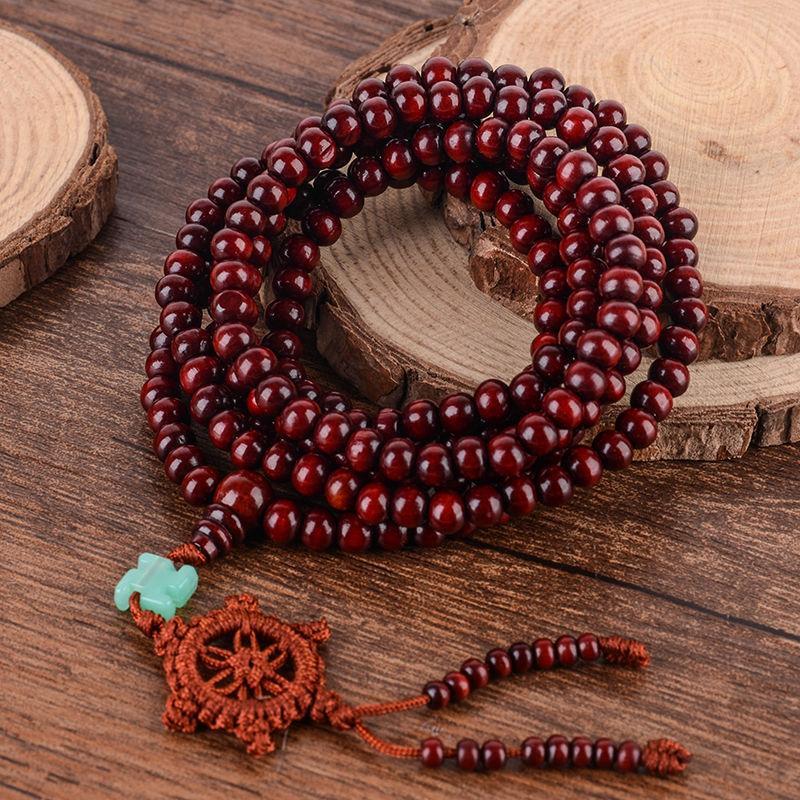 Четки из красного сандалового дерева 216 бусин на удачу