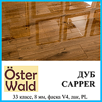 Глянцевый ламинат толщиной 8 мм Oster Wald Piano 33 класс Дуб Capper