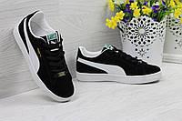 Кроссовки Puma Suede женские  (черные с белым), ТОП-реплика, фото 1
