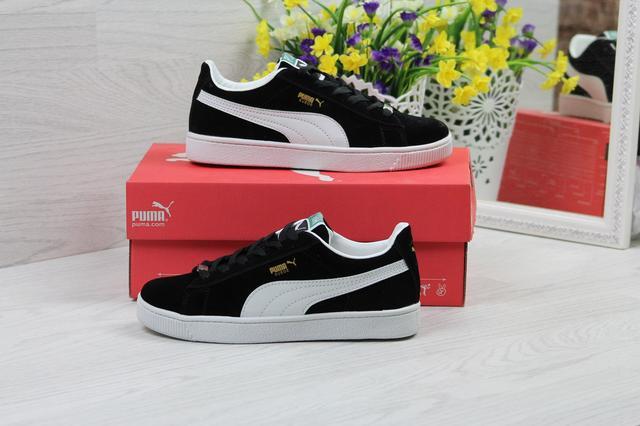 Кроссовки Puma Suede женские (черные с белым) 1a2d093aee16c