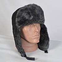 Теплая мужская шапка-ушанка с искусственным мехом (код 29-772)