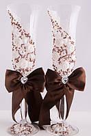 Свадебные бокалы ручной работы для шампанского