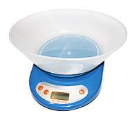 Весы кухонные Elite Lux EK01 Blue, электронные, точность до 3 г, максимальный вес 5 кг, пластиковый корпус
