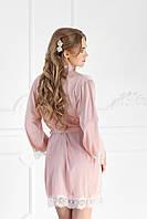 Шёлковый халатик с кружевом розовая пудра