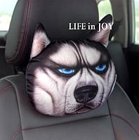 Комплект подушек подголовников 2 штуки в автомобиль с 3 D печатью собаки хаски.
