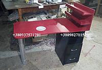 Складной маникюрный стол с вытяжкой. Модель V176 цвет красный / черный, фото 1