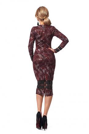 Стильное ангоровое платье-футляр декорированное перфорированной кожей, фото 3