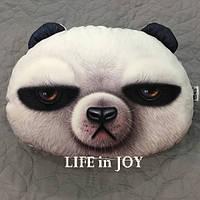 Подушка подголовник для авто с качественным 3 D принтом панды.