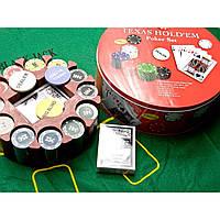 Покерный набор 2 колоды карт +240 фишек+сукно