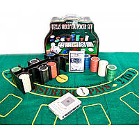 Покерный набор 2 колоды карт +200 фишек,сукно 25,5х20,5х10 см