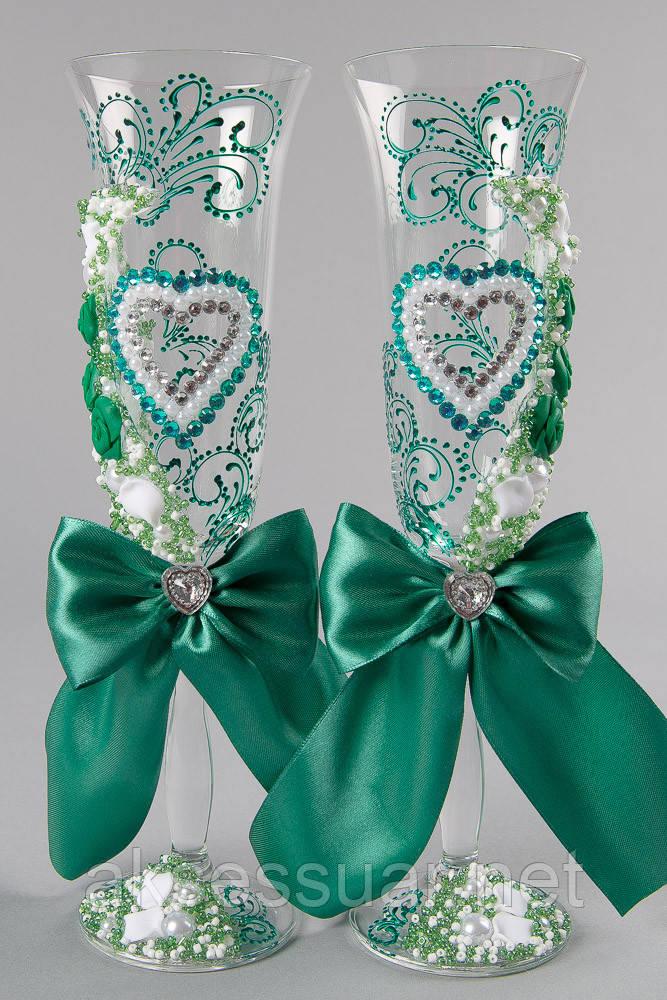 Весільні келихи смарагдового кольору