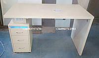 Маникюрный стол с вытяжкой, ультрафиолетом и двойной розеткой. Модель V184 белый, фото 1