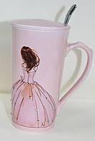 Кружка керамическая со стразиками, с крышкой и с ложкой, Миледи, фото 1