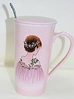 Кружка керамическая со стразиками, с крышкой и с ложкой, Девушка в венке, фото 1