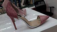 Блестящие женские туфли розовые,пудра