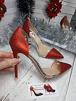 Женские туфли серебро красные  с клатчем и без , фото 1