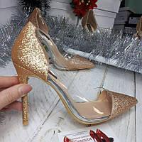 Вечерние золотые туфли блестки,блестящие, фото 1