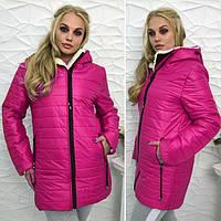"""Зимняя женская теплая куртка на молнии с капюшоном """"Polaris"""" цвет малиновый : 46-54 размеры"""