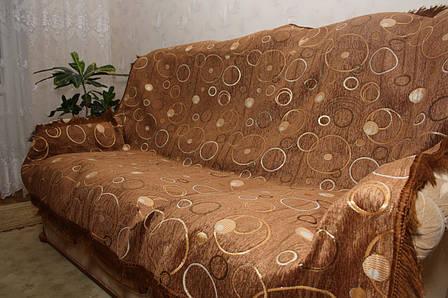 Круги (песочный) двуспальное покрывало на большую кровать, фото 2