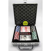 Покерный набор в кейсе 2 колоды карт +100 фишек 23х25х8 см