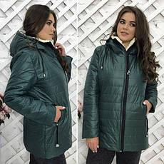 """Зимняя женская теплая куртка на молнии с капюшоном """"Polaris"""" цвет темно-синий : 46-54 размеры, фото 2"""