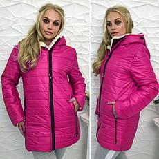 """Зимняя женская теплая куртка на молнии с капюшоном """"Polaris"""" цвет темно-синий : 46-54 размеры, фото 3"""